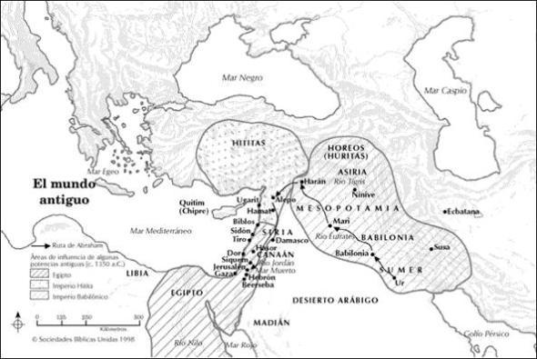 Mapa del mundo antiguo Bíblico