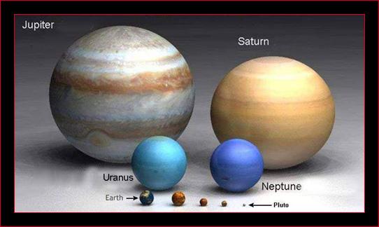 Tamaño comparativo de planetas del sistema solar