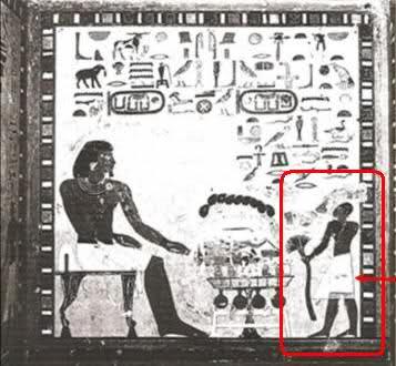 Murales egipcios con giantes dominando sobre seres humanos de tamaño normal